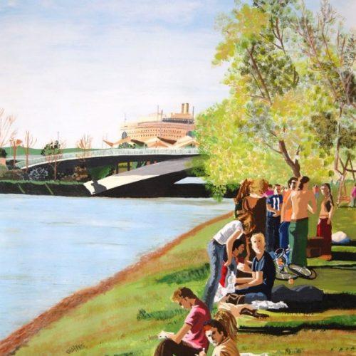 cuadro de pintura acrilica descanso en el rio 104